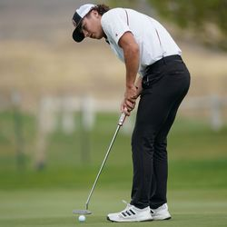 Juab High School's Kauner Kay competes in the 3A boys state championship at Oquirrh Hills Golf Course in Tooele on Thursday, Oct. 7, 2021.