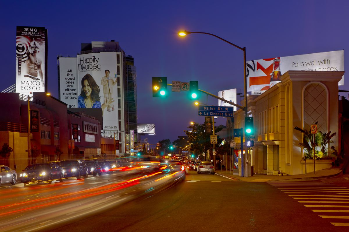 View of Sunset Strip at night