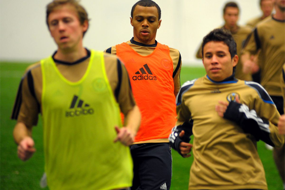 Jeremiah White practices with the Philadelphia Union on 1/28/2011. (Photo by Earl Gardner)