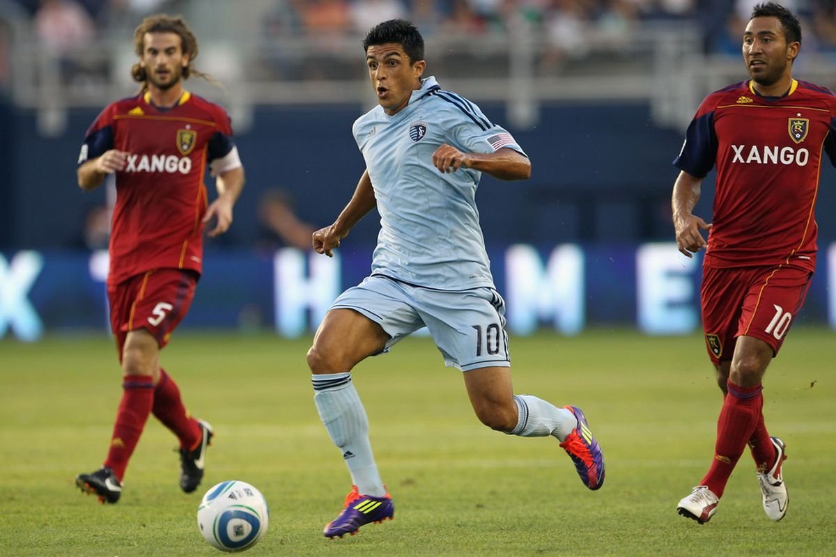 KANSAS CITY, KS - AUGUST 03:  Jeferson #10 of Sporting Kansas City in action during the first half of the game against Real Salt Lake on August 3, 2011 at LiveStrong Sporting Park in Kansas City, Kansas.  (Photo by Jamie Squire/Getty Images)