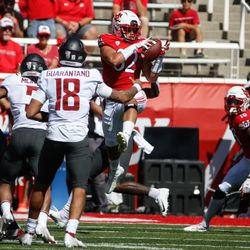 Utah linebacker Karene Reid (32) intercepts a pass from Washington State during an NCAA college football game at Rice-Eccles Stadium on Saturday, Sept. 25, 2021 in Salt Lake City.