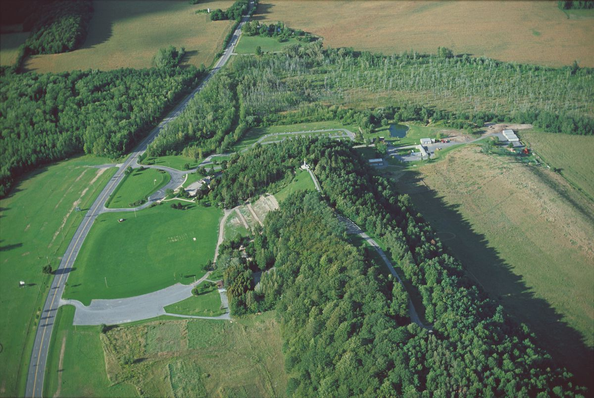 An aerial view of the Hill Cumorah in Manchester, New York.