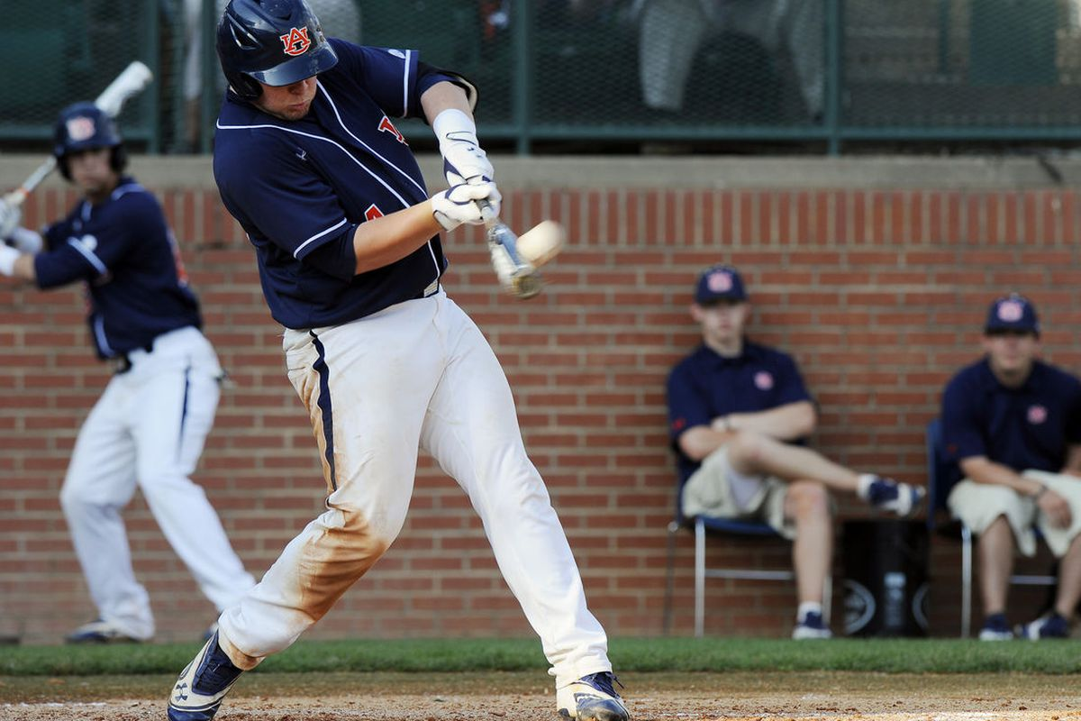 Auburn catcher Blake Austin batted .643 this past week and hit his second home run of the season Sunday against Tennessee. (<em>photo,Todd Van Ernst</em>)