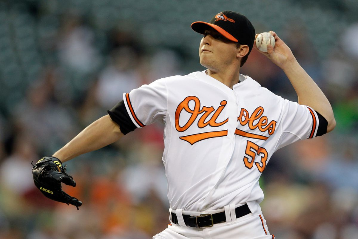 BALTIMORE, MD - APRIL 26:  Pitcher Zach Britton #53 of the Baltimore Orioles delivers to a Boston Red Sox batter during the third inning at Oriole Park at Camden Yards on April 26, 2011 in Baltimore, Maryland.  (Photo by Rob Carr/Getty Images)