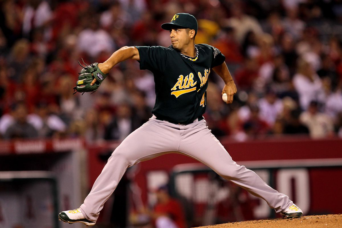 ANAHEIM, CA - SEPTEMBER 23:  Gio Gonzalez #47 of the Oakland Athletics throws a pitch against the Los Angeles Angels of Anaheim on September 23, 2011 at Angel Stadium in Anaheim, California.  (Photo by Stephen Dunn/Getty Images)