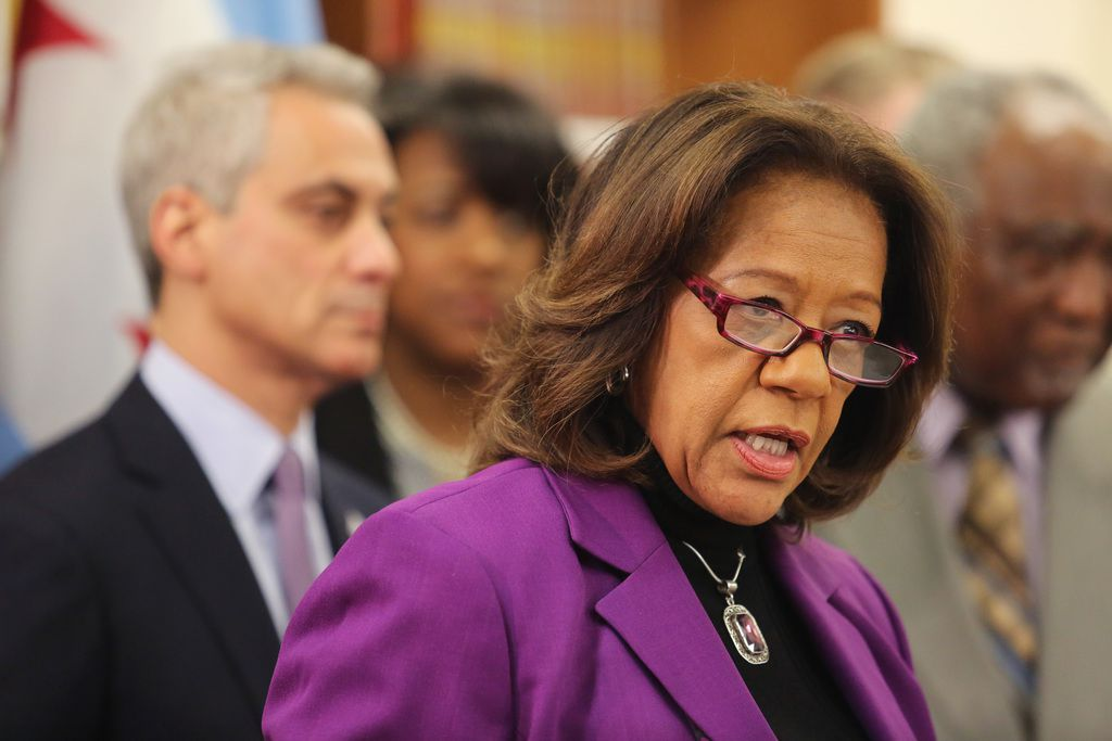 Then-CPS CEO Barbara Byrd-Bennett joined Mayor Rahm Emanuel in April 2014 to announce plans for Barack Obama College Preparatory High School. She later went to prison in a bribery scandal involving a CPS contractor. | Sun-Times files
