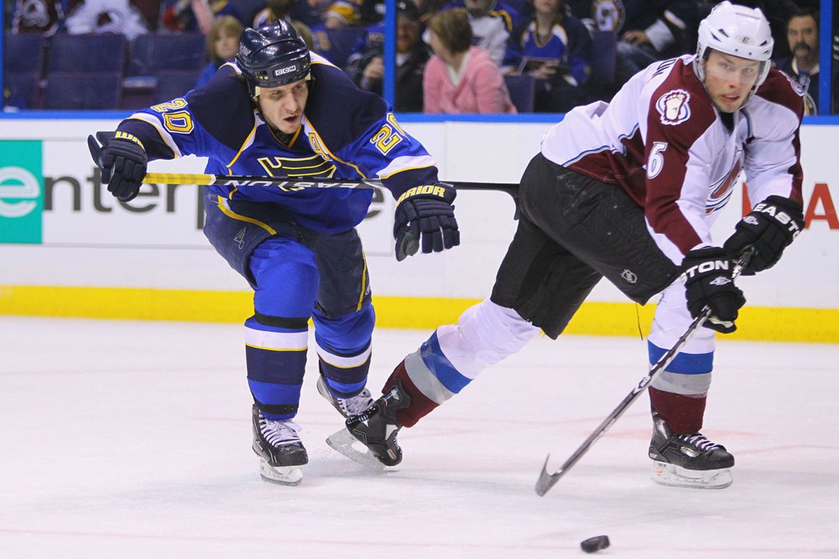 ST. LOUIS, MO - APRIL 5: Alexander Steen #20 of the St. Louis Blues looks to keep Erik Johnson #6 of the Colorado Avalanche away from the puck at the Scottrade Center on April 5, 2011 in St. Louis, Missouri.  (Photo by Dilip Vishwanat/Getty Images)