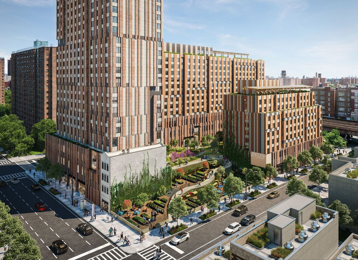 A rendering of a forthcoming apartment complex in Manhattan with a large courtyard.