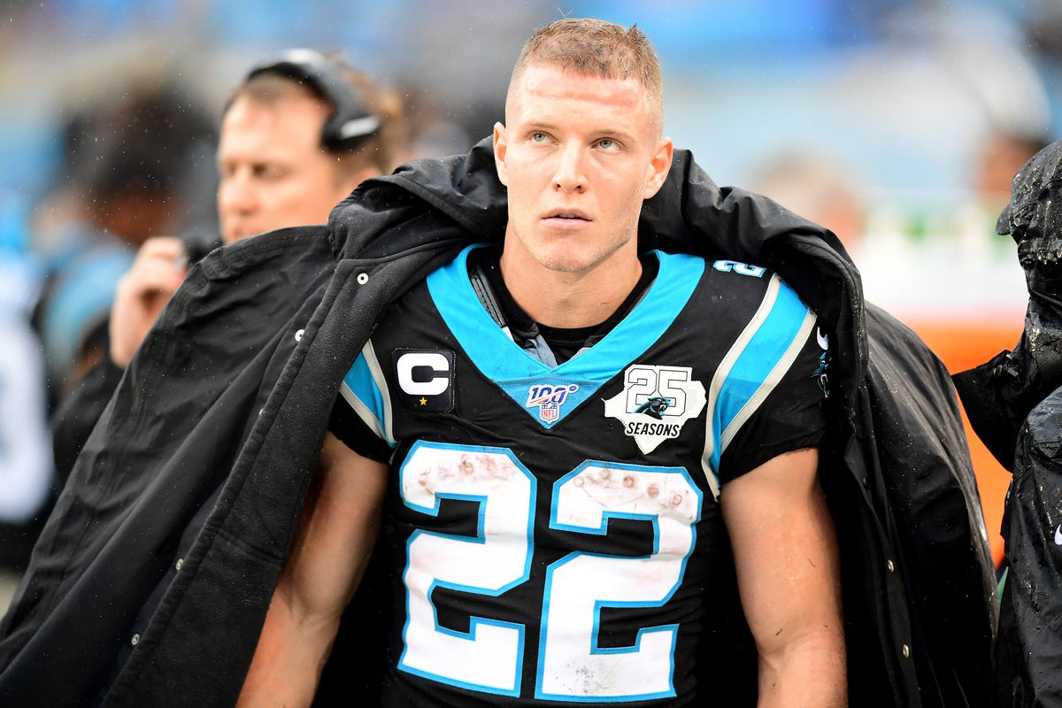 Christian McCaffrey #22 of the Carolina Panthers during the second half during their game against the New Orleans Saints at Bank of America Stadium on December 29, 2019 in Charlotte, North Carolina.