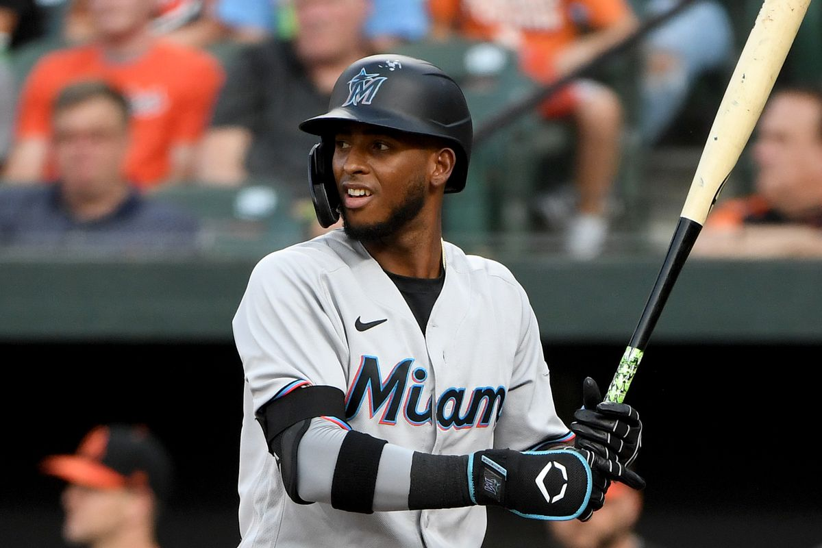 Lewin Diaz #68 of the Miami Marlins at bat against the Baltimore Orioles at Oriole Park at Camden Yards