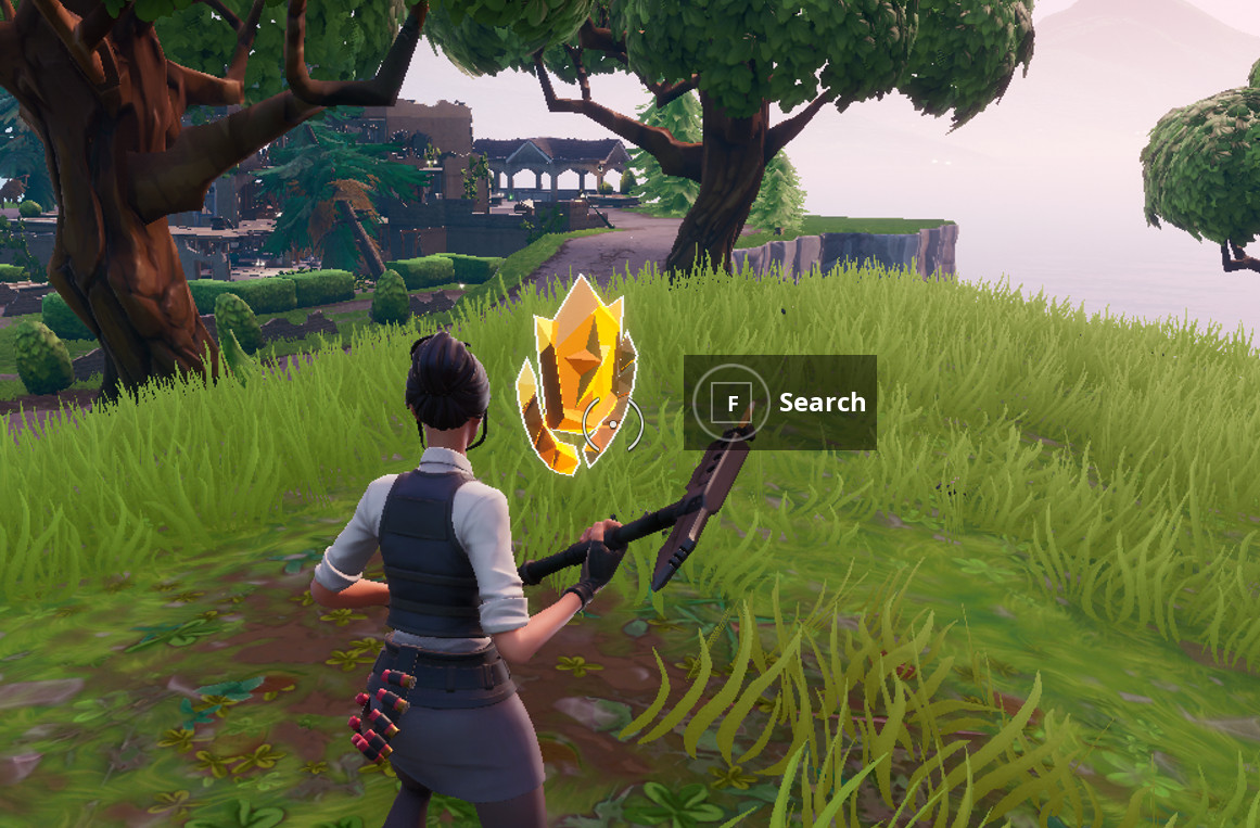 Fortnite search where the knife points on the treasure map challenge