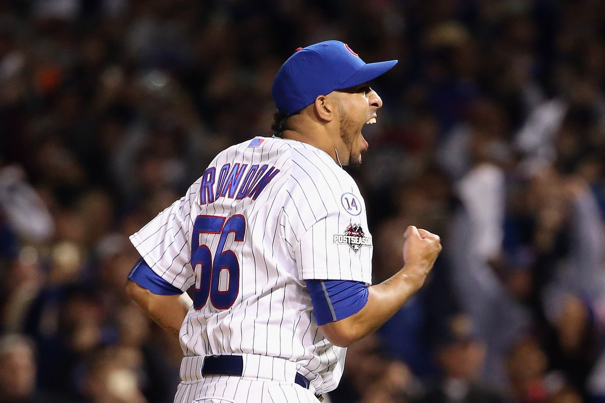 CHICAGO, IL - OCTOBER 13:  Hector Rondon #56 of the Chicago Cubs celebrates defeating the St. Louis Cardinals 6-4 in game four of the National League Division Series at Wrigley Field on October 13, 2015 in Chicago, Illinois.  (Photo by Jonathan Daniel/Getty Images)