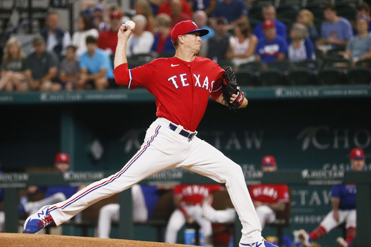 Texas Rangers starting pitcher Kyle Gibson (44) delivers to the plate during the first inning against the Tampa Bay Rays at Globe Life Field.