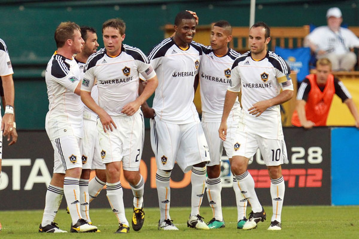 WASHINGTON - JULY 18: Edson Buddle #14 of the Los Angeles Galaxy celebrates after a goal against D.C. United at RFK Stadium on July 18 2010 in Washington DC. (Photo by Ned Dishman/Getty Images)