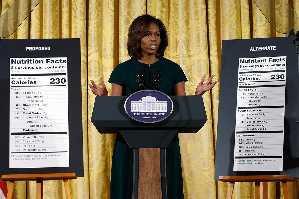 Michelle Obama shows off proposed new calorie labels