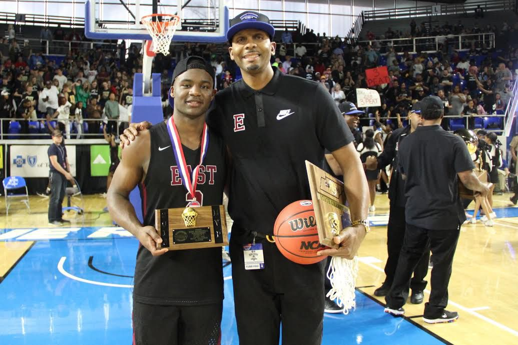 Penny Hardaway and Alex Lomax after winning the state championship at Memphis East.