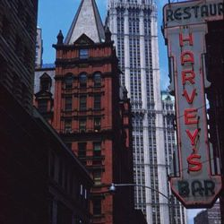 """Harvey's Restaurant, Beekman Street, Photo by Charles W. Cushman, 1960, From the collections of Charles W. Cushman Photograph Collection [<a href=""""http://webapp1.dlib.indiana.edu/cushman/results/detail.do;jsessionid=C109ECF48C9DC1934B455134D33F8456?query="""