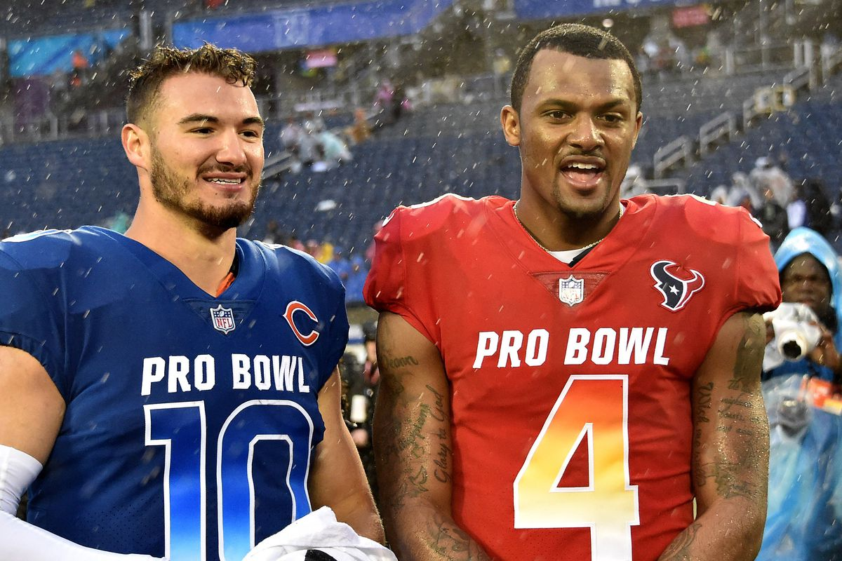 NFC quarterback Mitchell Trubisky of the Chicago Bears (10) stands next to  AFC quarterback Deshaun Watson of the Houston Texans (4) in the NFL Pro  Bowl ... e37bb52ca