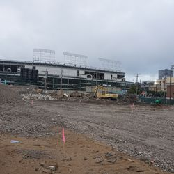 View of Wrigley Field with the land cleared for the upcoming Addison and Clark residential/retail complex