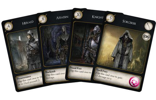 The Herald, Assassin, Knight and Sorcerer player information cards.