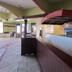 A look at the space for the pizza ovens to the left and the gelato and takeout area at the back.