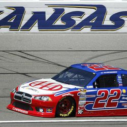 AJ Allmendinger (22) takes a lap during qualifying for the NASCAR Sprint Cup Series auto race at Kansas Speedway in Kansas City, Kan., Saturday, April 21, 2012. Allmendinger won the pole position for Sunday's race.