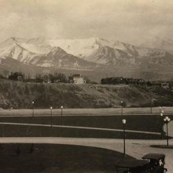 A view of the Wasatch Mountains from the steps of the Utah State Capitol on April 6, 1917.