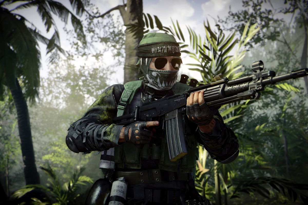 A Call of Duty: Black Ops Cold War players runs through the jungle as part of the new season 2 update