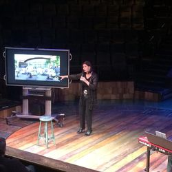 Sally Dietlein, executive producer and co-founder of Hale Centre Theatre, announces the organization's 2018 season during an event announcing the season to donors and media on March 7.