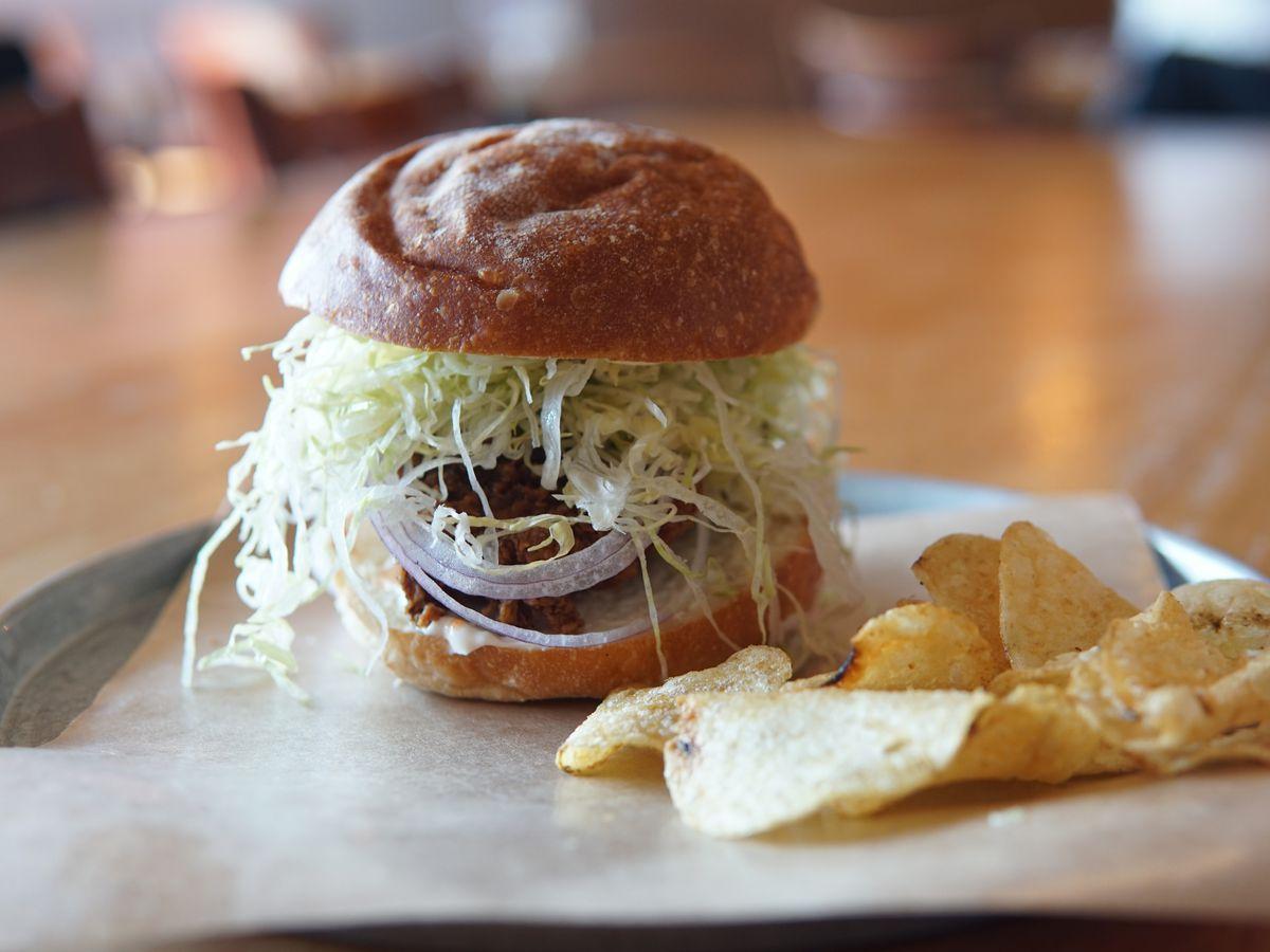 Cold fried chicken sandwich, lettuce, onion, mayo