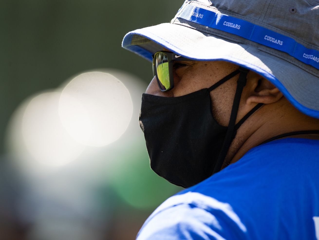 BYU football coach Kalani Sitake looks on during a practice last August during fall camp in Provo, Utah.