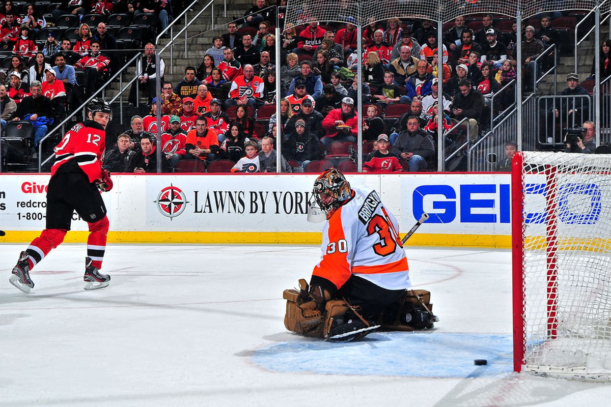 Pictured: the lone goal the Devils have scored on Ilya Bryzgalov in the 2011-12 season.  They'll have to do much more to have a chance in this playoff series.  (Photo by Norman Y. Lono/Getty Images)