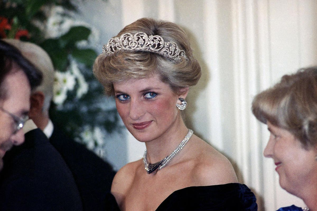 Princess Diana is pictured during a reception given by the West German President Richard von Weizsacker in Bonn, Germany.
