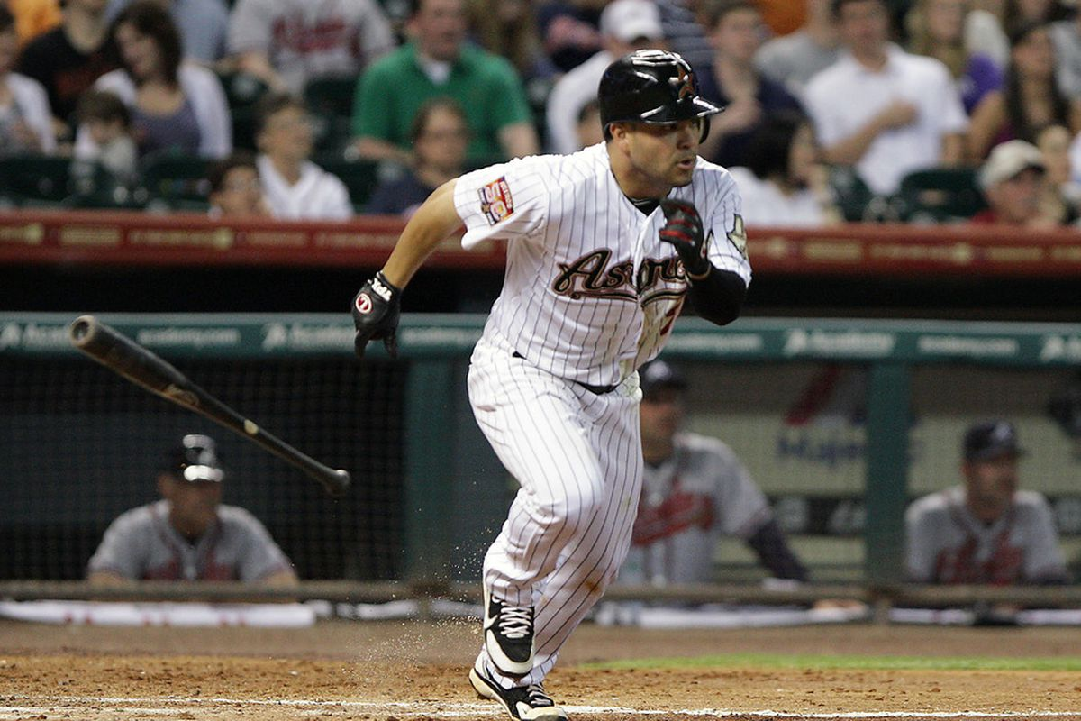 April 11, 2012; Houston, TX, USA; Houston Astros infielder Jose Altuve (27) gets a single in the fifth inning against the Atlanta Braves at Minute Maid Park. Mandatory Credit: Troy Taormina-US PRESSWIRE