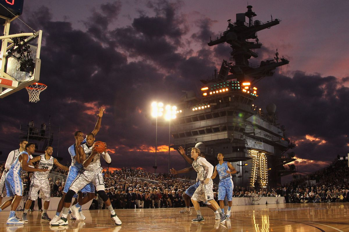 CORONADO, CA - NOVEMBER 11:  The North Carolina Tar Heels play against the Michigan State Spartans during the Quicken Loans Carrier Classic on board the USS Carl Vinson on November 11, 2011 in Coronado, California.  (Photo by Ezra Shaw/Getty Images)