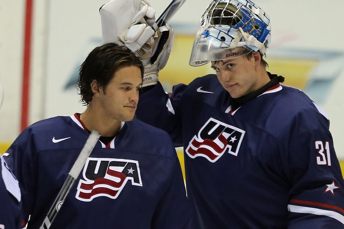 Goalie John Gibson (L) was the top player for gold-medal winning Team USA and tournament MVP at the 2013 World Junior Championships.