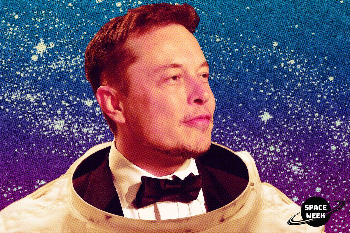 Elon Musk wearing a spacesuit