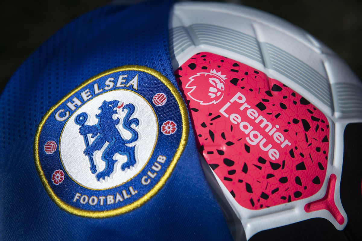 The Chelsea Club Crest with a Premier League Match Ball