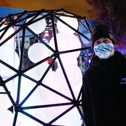 """Brody """"Izm"""" Froelich poses for a portrait with his project """"The Skull"""" at Lumen Land in Salt Lake City on Monday, Nov. 9, 2020."""