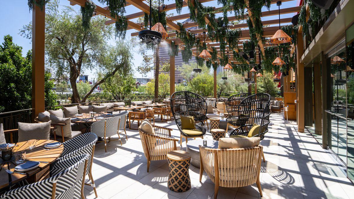 A patio on the Las Vegas Strip
