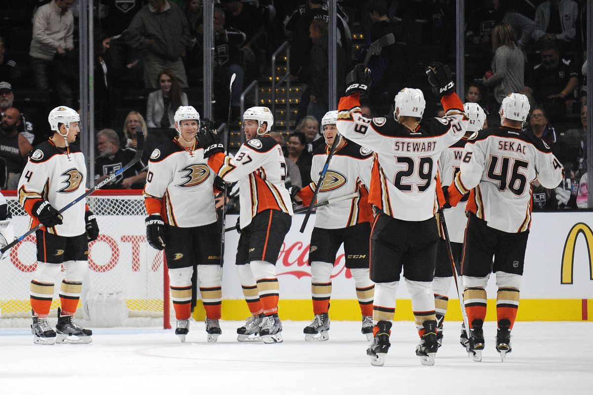 The Ducks celebrate with Corey Perry after he scored the winning goal in  overtime at STAPLES Center. Gary A. Vasquez-USA TODAY Sports 8dad920c2