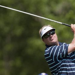 Carl Pettersson tees off from the second hole during the third round of the Houston Open golf tournament on Saturday, March 31, 2012, in Humble, Texas.
