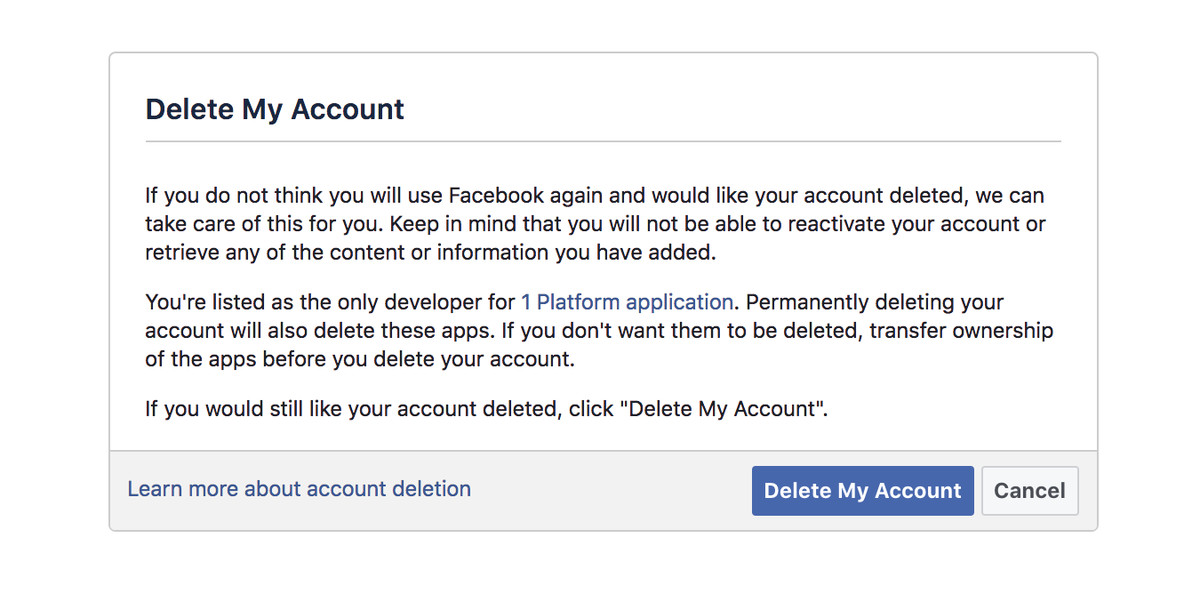 How to delete facebook the verge facebook doesnt have the delete account option in its settings for some reason once you click delete my account your account will be marked for ccuart Images