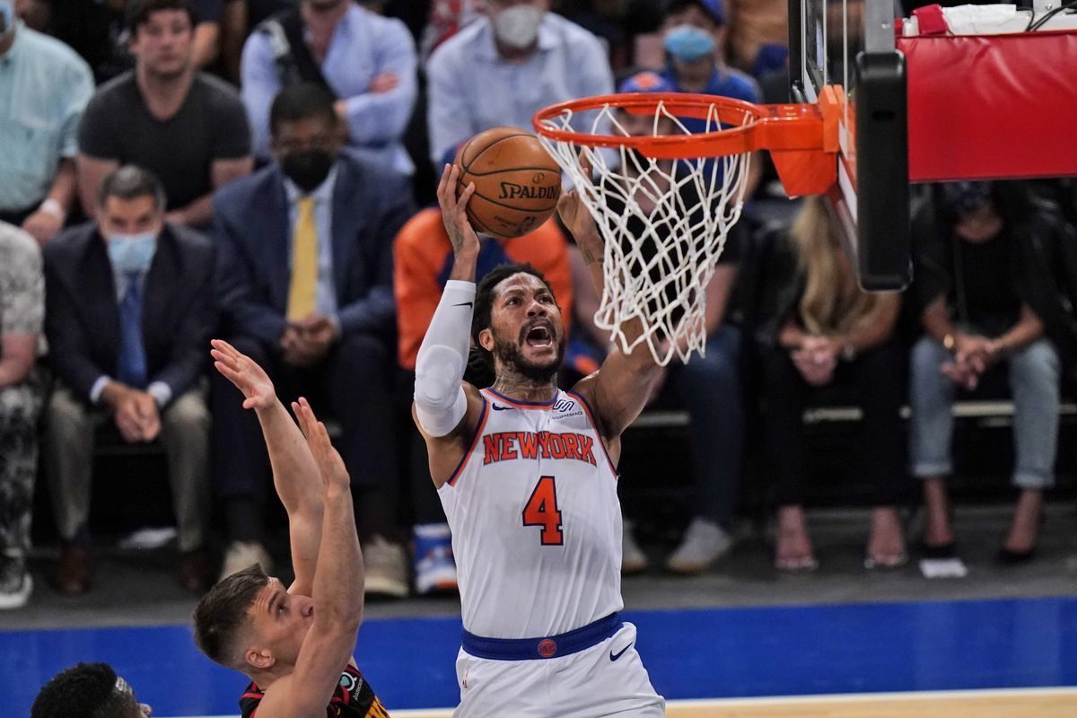 New York Knicks' Derrick Rose goes to the hoop during the first half of Game 1 of an NBA basketball first-round playoff series against the Atlanta Hawks on May 23, 2021 in New York City.