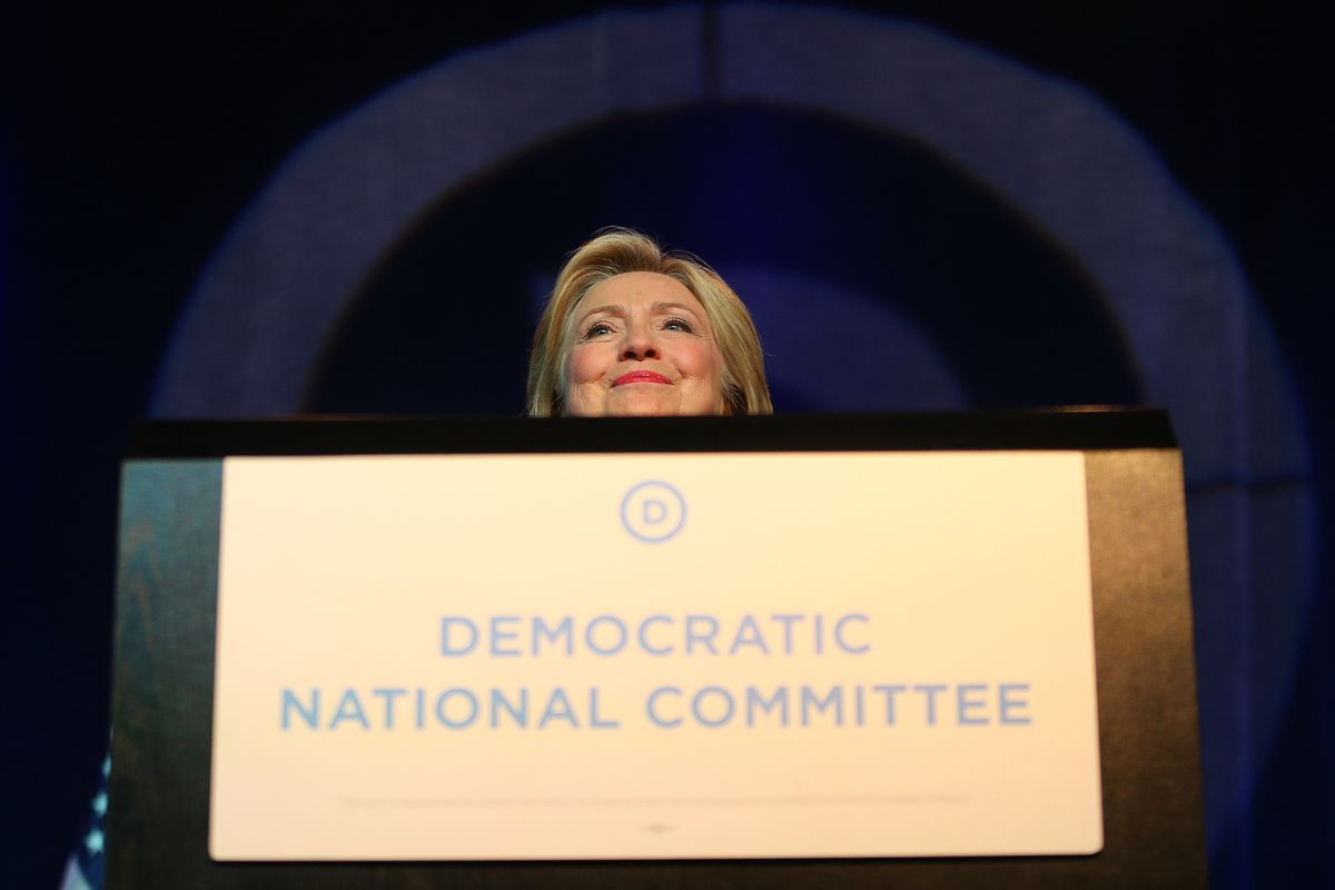 Democratic Presidential candidate Hillary Clinton speaks at the Democratic National Committee summer meeting on August 28, 2015, in Minneapolis, Minnesota.
