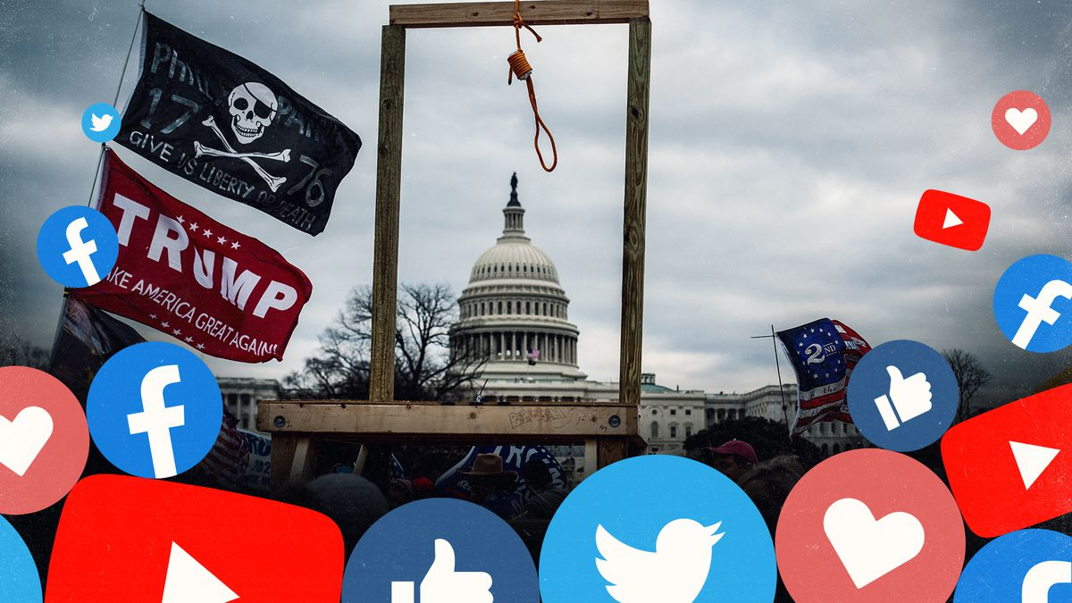 The Capitol framed in a gallows with a noose, with Twitter and Facebook icons superimposed on the image.