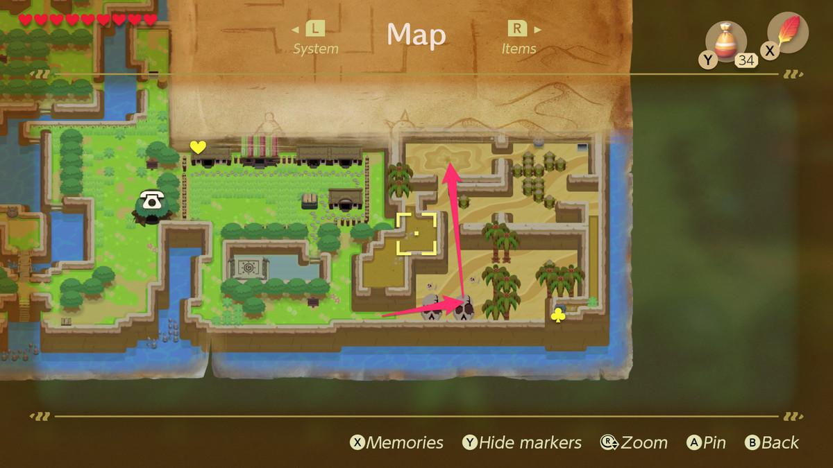 Link's Awakening Yarna Desert path to the Lanmola
