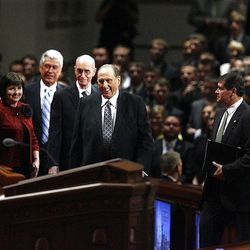 President Thomas S. Monson, Henry B. Eyring,  and Dieter F. Uchtdorf walk to their seats before the start of the morning session of the182nd Semiannual General Conference for The Church of Jesus Christ of Latter-day Saints in the Conference Center in Salt Lake City on Saturday, Oct. 6, 2012.