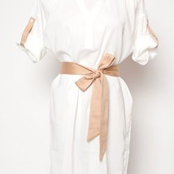 """Depending on how it's styled, a shirt dress can take you from sightseeing to the beach to an evening out. <a href="""" http://www.kembrel.com/collections/womens/dresses/cluce-sheer-two-tone-shirt-dress-white.html"""">C Luce Shirt Dress</a>, $54 at Kembrel."""
