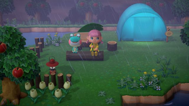 a young pink-haired girl and a smiling frog enjoy the rain near a tent in Animal Crossing: New Horizons